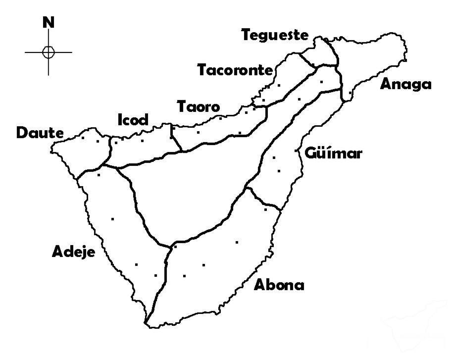 Древнее деление Тенерифе на менсейяты