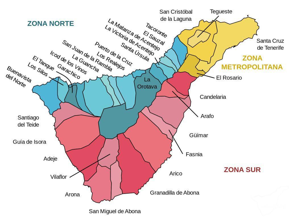 Деление Тенерифе на муниципалитеты