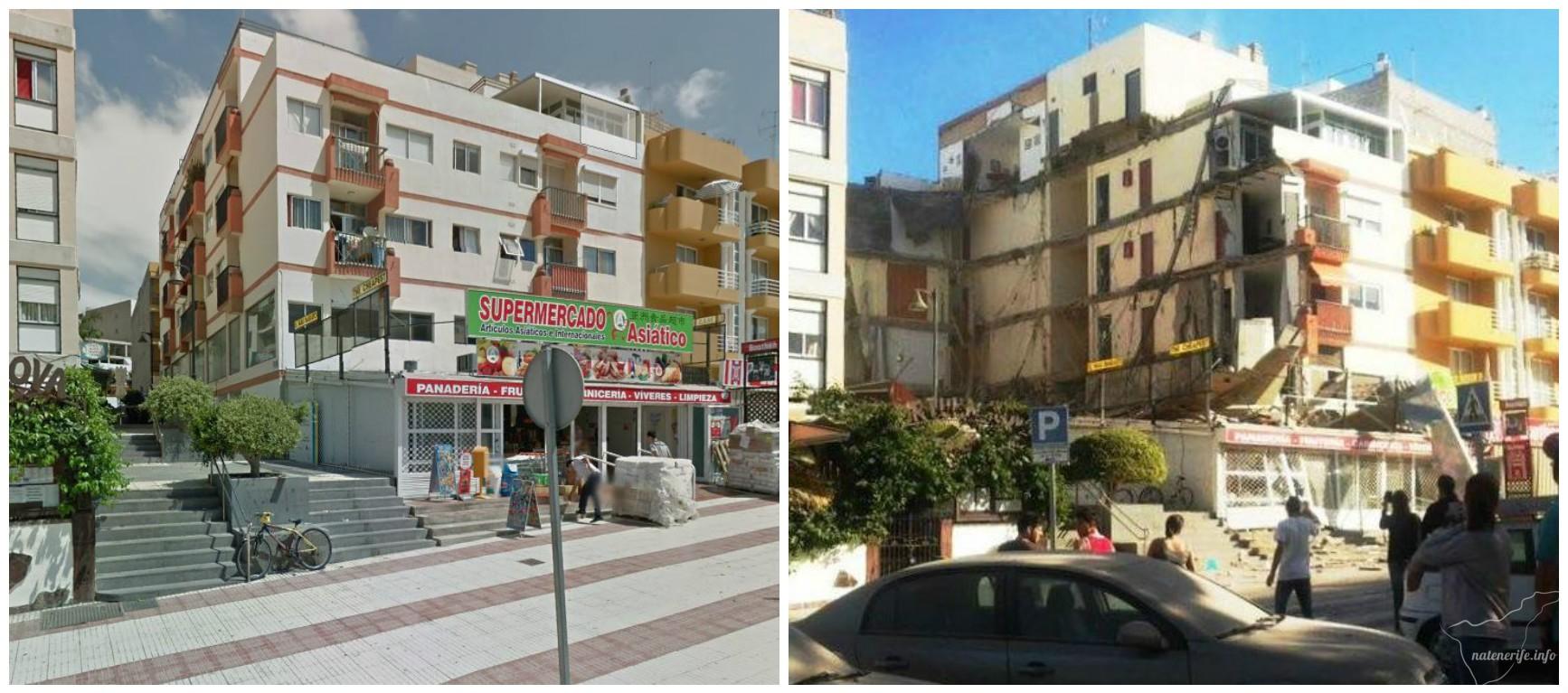 В Лос-Кристианос обрушилось здание: фото до и после