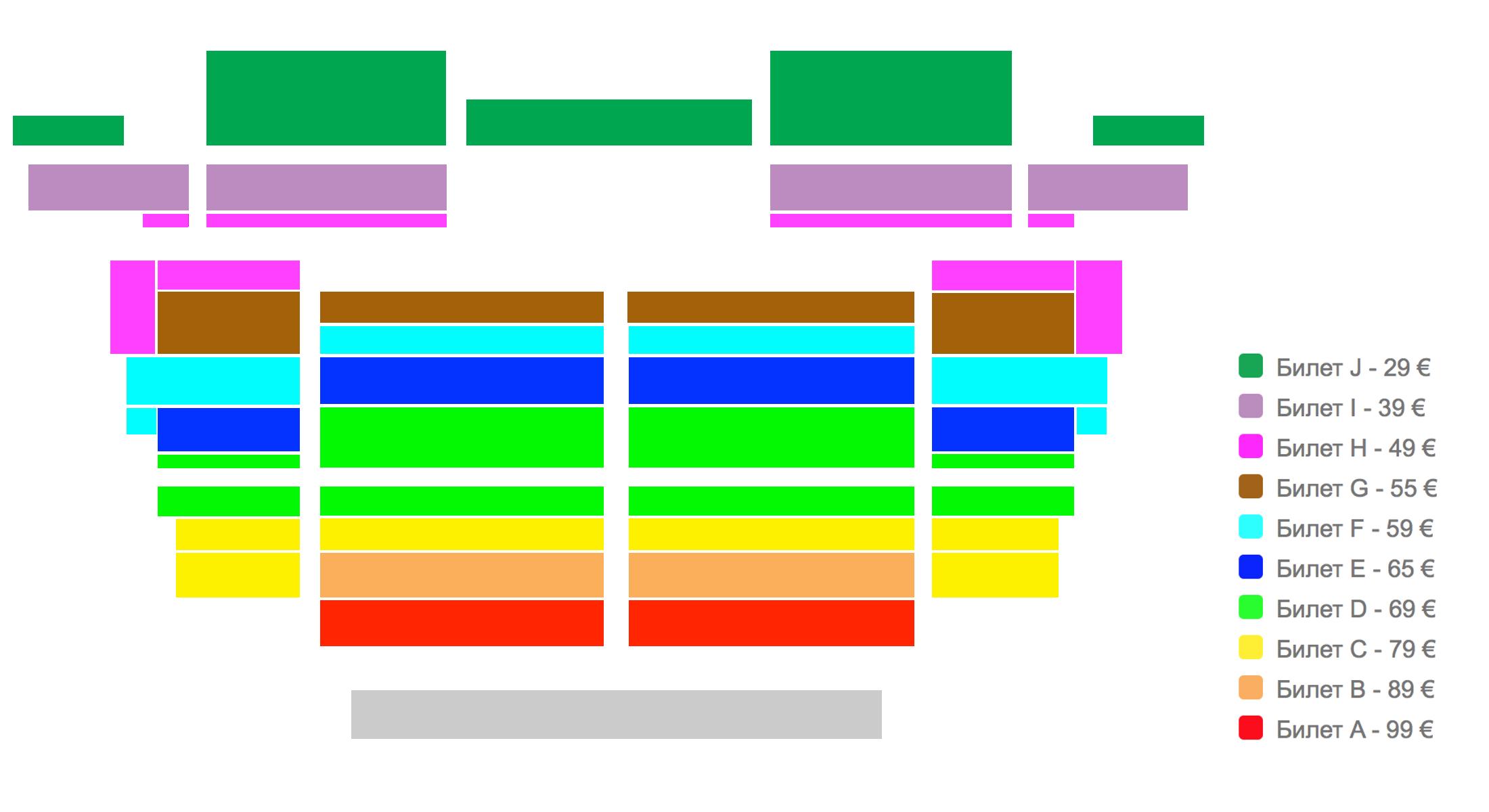 Схема зала c ценами