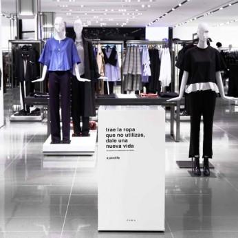 Контейнер для одежды и обуви в магазине Zara в Мадриде